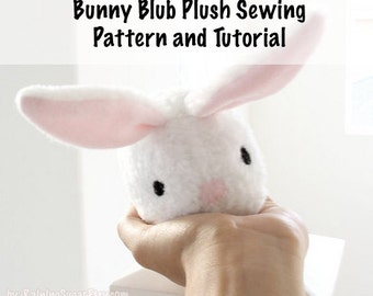 Plush toy sewing PATTERN and TUTORIAL, fleece bunny rabbit, easy stuffed rabbit softie instructions