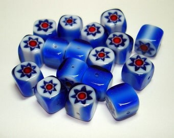 Blue White Red Star Millefiori Cube Glass Beads (Qty 17) - B2409