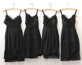 Custom Black Bridesmaids Dresses