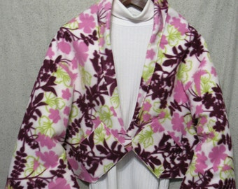 Rose Flowers w/Burgundy & Light Green Leaves on Off-White Shawl, Bed Jacket, or Reading Shawl - Cold Office / Warm Shawl