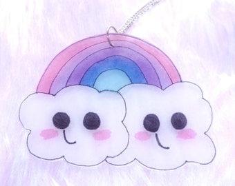 GIANT kawaii rainbow and cloud necklace