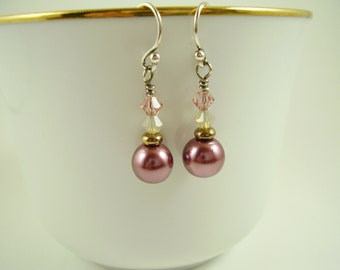 Raspberry, Cocoa Pearl Earrings with Swarovski Crystals, Rasberry Pearl Earrings, Earrings, Jewelry, Gifts for Her, Pearl Earrings, Mauve