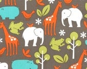 Cotton Quilting fabric | Elephant Zoology Dirt | Zoo Animal fabric