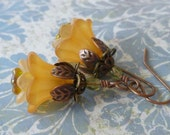 Autumn Gold Flower Earrings with Lucite Flowers, Czech Glass and Antiqued Copper