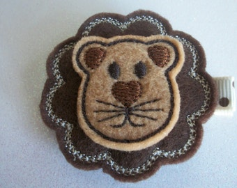Embroidered Felt Brown Lion Hair Clip, Toddlers Hair Clip, Hair Bows, Lion Hair Clip, Girls Hair Clips, Brown Lion, Clippies, Felties