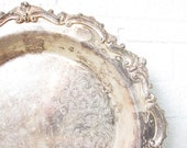 Vintage Silver Serving Tray - Tarnished Footed Silver Platter - Round Deep Silver Bowl with Filigree Border