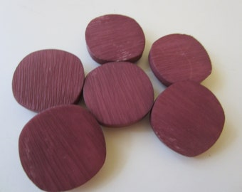 Vintage Buttons - Bargain lot of 6 matching magenta/ raspberry 7/8 inch,  NOS  shank back (8924)