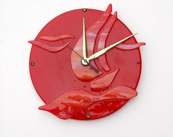 Fused glass wall clock, red sail boat