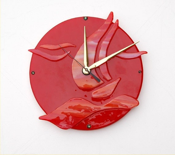 fused glass wall clock red sail boat