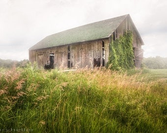 Old Barn in a Misty Field Photograph - Rustic Landscape, Signed Photography Print, Home, Office Wall Art