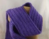 Iris medium purple Alpaca Blend Crochet Scarf ... awesome for men or women