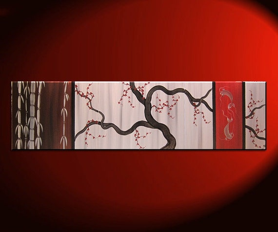 Large Koi Fish Painting Chocolate Brown Grey and Red Cherry Blossom and Bamboo Original Abstract Asian Zen Art Ships Fast 60x16