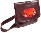 Vegan Porthole Handbag with Adjustable Strap, Burgundy Faux Leather, READY TO SHIP