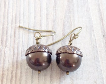 Sophia Acorn Swarovski Pearl Earrings in Espresso and Brass