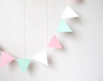 Triangle Flag Bunting Garland Nursery Decor Pink White Green Mint 10 ft Pastels