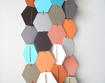 Hexagonal Honeycomb Garland Bunting / Geometric wall hanging