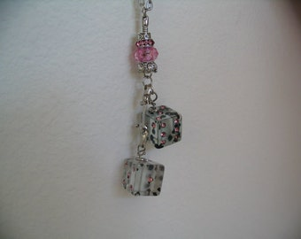 Rear View Mirror Window Charm Two Dice Accessory Car Bling Jewelry