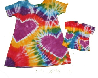 Matching Girl and Doll Tie Dye Rainbow Heart Dress Set- Fits 18 and 15 Inch Dolls