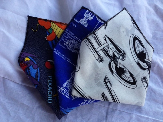 Geeky Pocket Squares- Handkercheif GroomsMen's Gift - Star Trek - Star Wars -Marvel - Disney -Custom to Order
