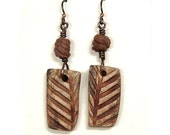 Ceramic Clay Dangle Earrings Made with Hand Made Reversible Scroddled and Textured Stoneware Beads,Copper Wire and Niobium Ear Wires
