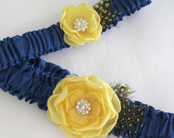 Canary Yellow and Blue Feather Bridal Garter Set A136 - wedding garter accessory