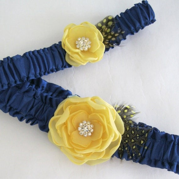 Canary Yellow and Blue Feather Bridal Garter Set J282 - wedding garter accessory