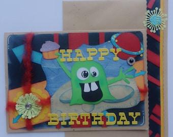 boys birthday card,out of this world, birthday card, HAPPY BIRTHDAY, 5 x 7, handmade card, hand crafted