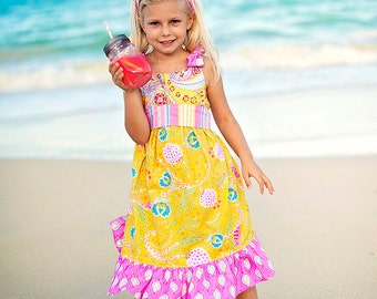 Girls Yellow Dress - Tie Dress - Beach Dress