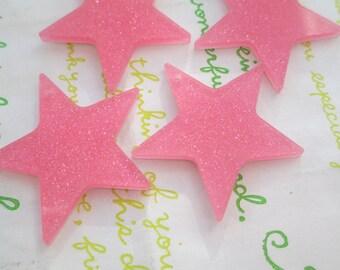 NEW item Glitter Star charms 4pcs Pink 02