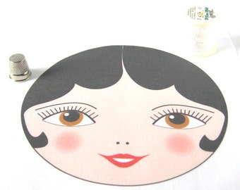 "Large Fabric Doll Face, Matryoshka Doll Face with Black Hair, SEW IN Anya doll face - 15cm (5 7/8"") diameter"