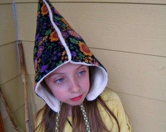 SALE Gnome Hat - An organic fleece winter hat with black floral corduroy- Ready to Ship size 5 and up