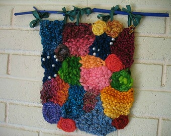 Hand Knit Freeform Wall Hanging - Handspun Yarns - Jewel Box