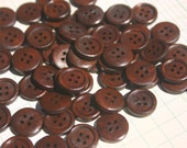 """Dark Wood Buttons - Wooden Sewing Button - 15mm - 5/8"""" Wide - 50 Buttons"""