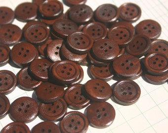 "Dark Wood Buttons - Wooden Sewing Button - 15mm - 5/8"" Wide - 50 Buttons"