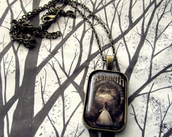 "Labyrinth Movie Poster Sarah Glass Pendant with 24"" Necklace"