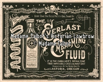 Everlast Necromort Embalming Fluid Mortician Undertaker Burial Victorian Lowbrow Poster