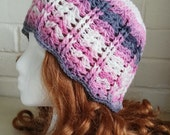 Cherry Blossom Shell Beanie Crochet Hat Teen Adult Size by keiara SRA