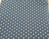 Blue Hearts Fat Quarter Country Dusty White Vintage Fabric Dollhouse