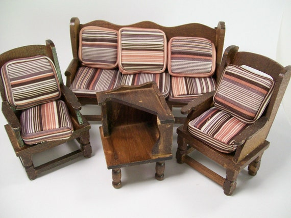 Dollhouse Miniature Vintage Furniture Wood Wooden Living Room Set 70s Cushions Brown Stripes Couch End Table Side Chairs Primitive Rustic