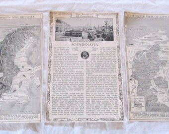 "SCANDINAVIA-Norway, Sweden, & Denmark-antique prints from ""Book of Knowledge"" 1912 (3 sheets)"