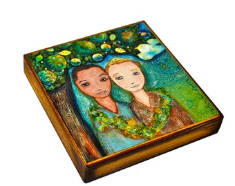 Tree of Love -   Giclee print mounted on Wood (4 x 4 inches) Folk Art  by FLOR LARIOS