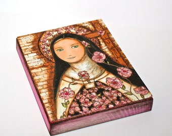 The Little Flower of Jesus -  Giclee print mounted on Wood (4 x 5 inches) Folk Art  by FLOR LARIOS