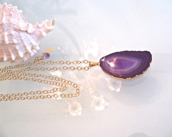 Purple Agate Sliced Pendant on Long 14kt Gold Fill Chain