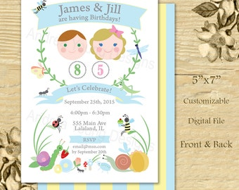 Printable Party Invitation - Cute Bug Garden Double or twin Party - Digital File
