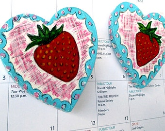 Strawberry Love Magnets, Strawberry painting, Fridge Magnets, Hand Painted, Wooden magnets, Wooden Hearts, Fruit Art, Strawberry and Hearts