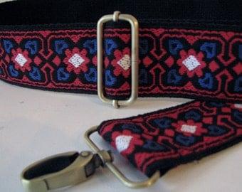 Custom HandBag Strap,  Vintage Trim, Red White and Blue