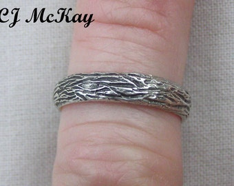 Tree Bark Wedding Band 4mm Sterling Silver Oxidized Finish CR84SO