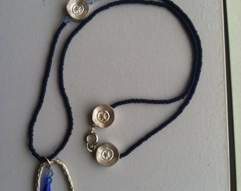 Blue seed beaded long layering necklace silver(valentines day gift, gifts for her)