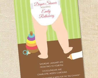 Sweet Wishes Diaper Baby Shower Invitations - PRINTED - Digital File Also Available