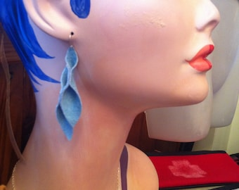 Petal Collection- Light Blue Suede Earrings 3 inches